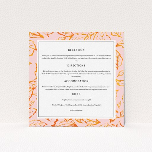 """A wedding information sheet called """"Falling Foliage"""". It is a square (148mm x 148mm) card in a square orientation. """"Falling Foliage"""" is available as a flat card, with tones of pink and orange."""