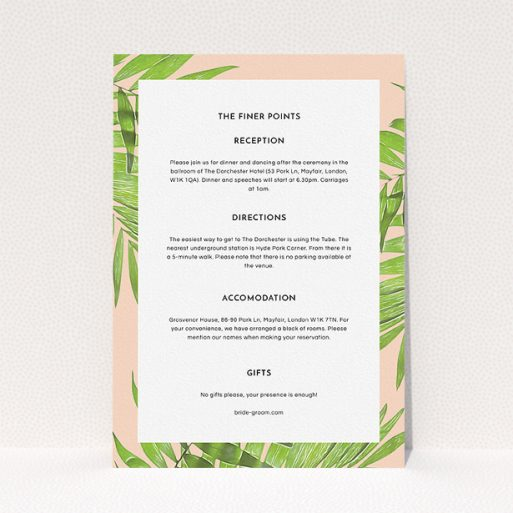 """A wedding information sheet named """"In the courtyard"""". It is an A5 card in a portrait orientation. """"In the courtyard"""" is available as a flat card, with tones of light pink and green."""