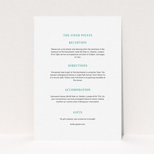 """A wedding information sheet design called """"Laydown simple"""". It is an A5 card in a portrait orientation. """"Laydown simple"""" is available as a flat card, with mainly white colouring."""