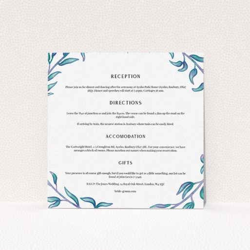 """A wedding information sheet design titled """"Marine Wreath"""". It is a square (148mm x 148mm) card in a square orientation. """"Marine Wreath"""" is available as a flat card, with tones of blue and white."""