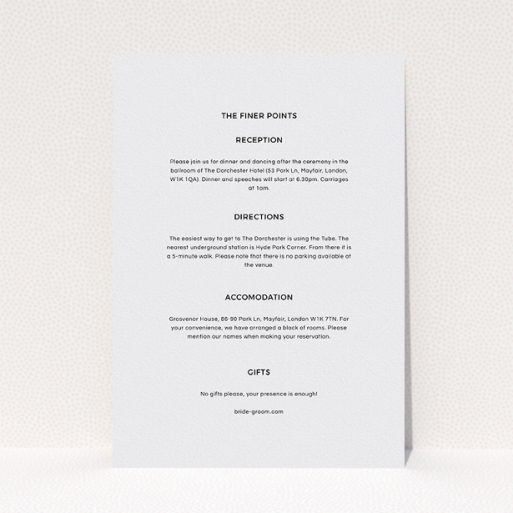 """A wedding information sheet named """"Newsreel"""". It is an A5 card in a portrait orientation. """"Newsreel"""" is available as a flat card, with mainly grey colouring."""