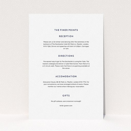 """A wedding information sheet design titled """"Off and away"""". It is an A5 card in a portrait orientation. """"Off and away"""" is available as a flat card, with mainly white colouring."""