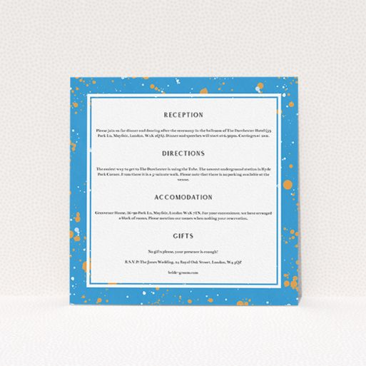 """A wedding information sheet named """"Orange Splatters"""". It is a square (148mm x 148mm) card in a square orientation. """"Orange Splatters"""" is available as a flat card, with tones of blue and white."""