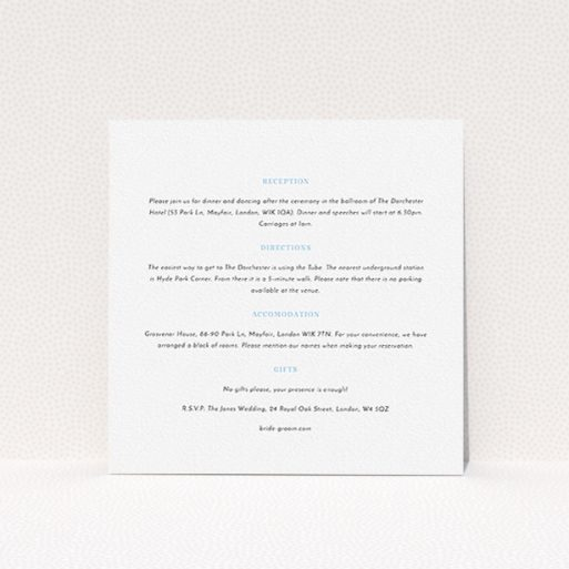 """A wedding information sheet named """"Pastel flower border"""". It is a square (148mm x 148mm) card in a square orientation. """"Pastel flower border"""" is available as a flat card, with mainly white colouring."""