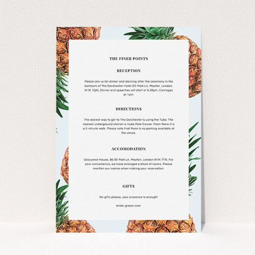 """A wedding information sheet called """"Pineapples falling"""". It is an A5 card in a portrait orientation. """"Pineapples falling"""" is available as a flat card, with tones of light blue and brown."""