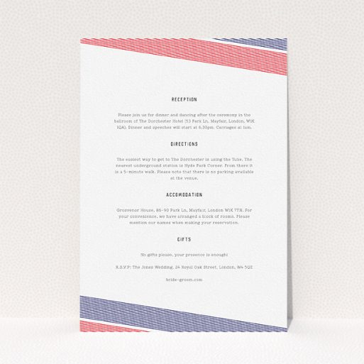 """A wedding information sheet called """"Preppy Lines"""". It is an A5 card in a portrait orientation. """"Preppy Lines"""" is available as a flat card, with tones of white and red."""