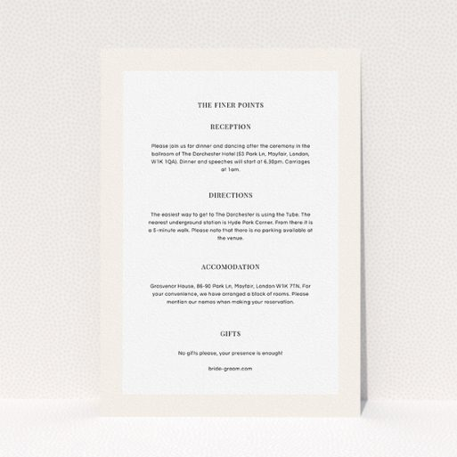 """A wedding information sheet design named """"Roses on the corner"""". It is an A5 card in a portrait orientation. """"Roses on the corner"""" is available as a flat card, with mainly light pink colouring."""