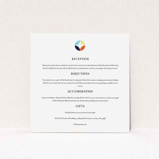 """A wedding information sheet design called """"Round and Round"""". It is a square (148mm x 148mm) card in a square orientation. """"Round and Round"""" is available as a flat card, with tones of white and blue."""