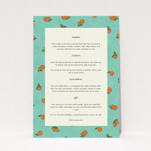 """A wedding information sheet named """"Seville"""". It is an A5 card in a portrait orientation. """"Seville"""" is available as a flat card, with tones of light green and orange."""