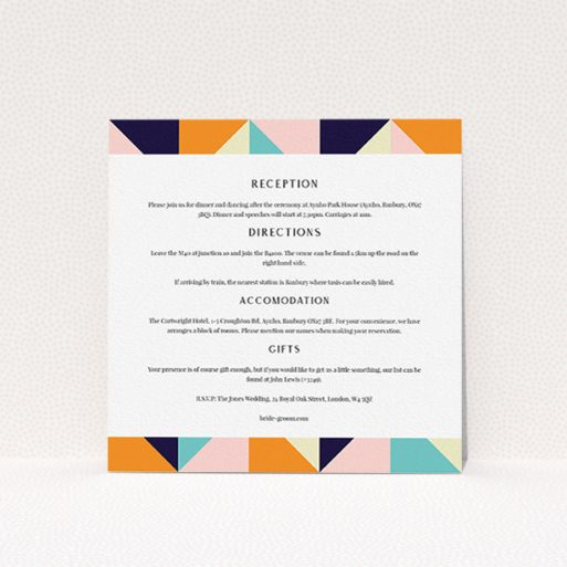 """A wedding information sheet design titled """"Sloane Squares"""". It is a square (148mm x 148mm) card in a square orientation. """"Sloane Squares"""" is available as a flat card, with tones of white and navy blue."""