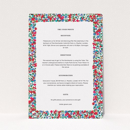 """A wedding information sheet template titled """"Summer from a distance"""". It is an A5 card in a portrait orientation. """"Summer from a distance"""" is available as a flat card, with mainly red colouring."""