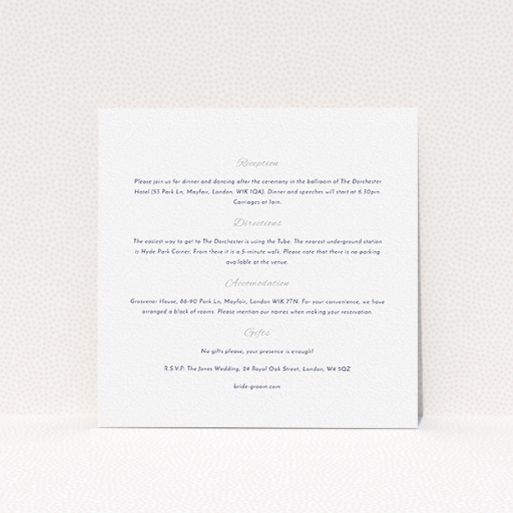 """A wedding information sheet called """"Tandem sheet"""". It is a square (148mm x 148mm) card in a square orientation. """"Tandem sheet"""" is available as a flat card, with mainly white colouring."""