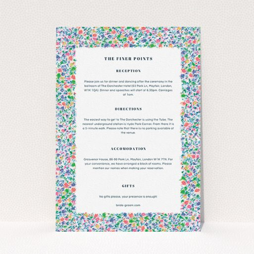 """A wedding information sheet template titled """"The faraway garden"""". It is an A5 card in a portrait orientation. """"The faraway garden"""" is available as a flat card, with mainly blue colouring."""