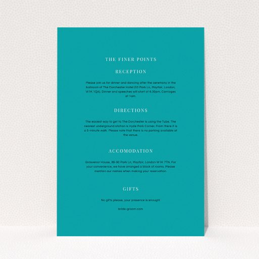 """A wedding information sheet template titled """"To the right"""". It is an A5 card in a portrait orientation. """"To the right"""" is available as a flat card, with tones of teal and white."""