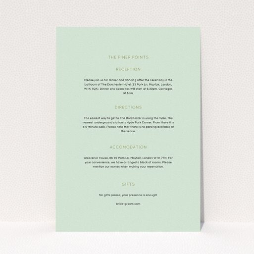 """A wedding information sheet called """"Turquoise polkadots"""". It is an A5 card in a portrait orientation. """"Turquoise polkadots"""" is available as a flat card, with mainly green colouring."""