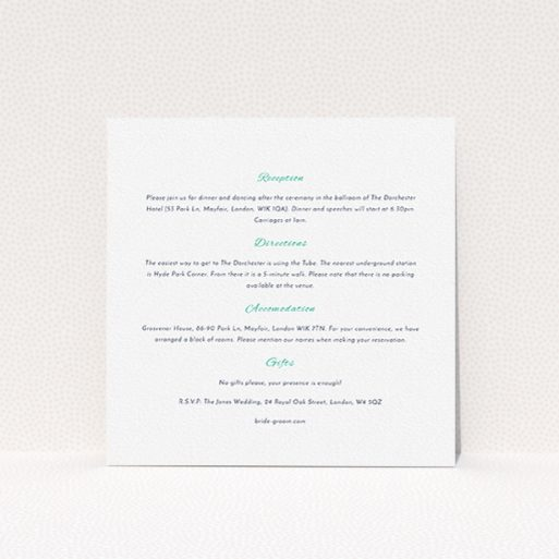 """A wedding information sheet named """"Two little ducks"""". It is a square (148mm x 148mm) card in a square orientation. """"Two little ducks"""" is available as a flat card, with mainly white colouring."""