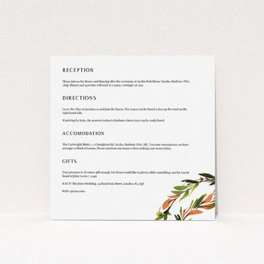 """A wedding information sheet design titled """"Watercolour Olive Wreath"""". It is a square (148mm x 148mm) card in a square orientation. """"Watercolour Olive Wreath"""" is available as a flat card, with tones of white and green."""