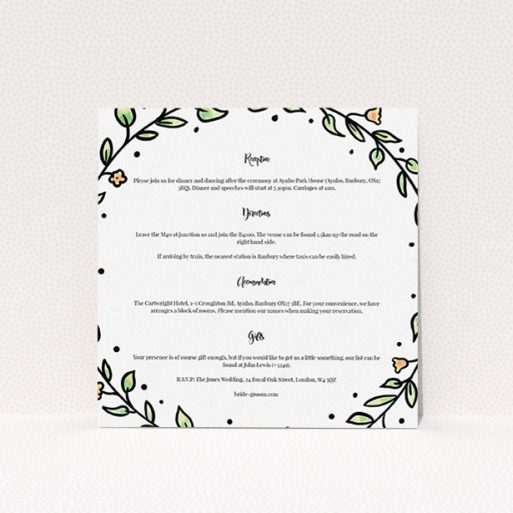 """A wedding information sheet called """"Wreath Outline"""". It is a square (148mm x 148mm) card in a square orientation. """"Wreath Outline"""" is available as a flat card, with tones of white and green."""