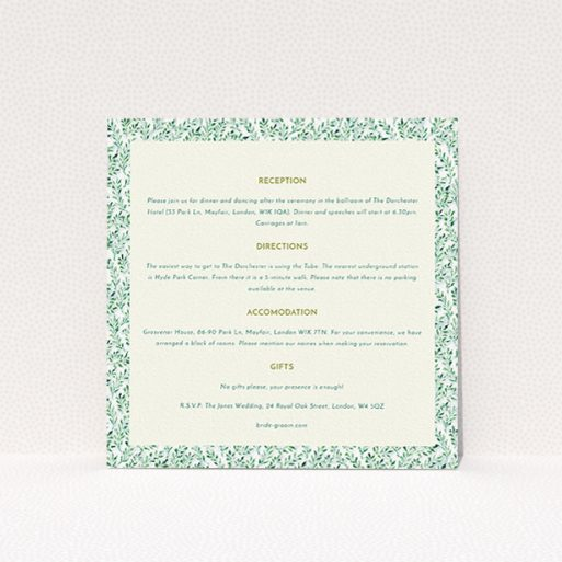 """A wedding insert card template titled """"From the hedge"""". It is a square (148mm x 148mm) card in a square orientation. """"From the hedge"""" is available as a flat card, with mainly green colouring."""