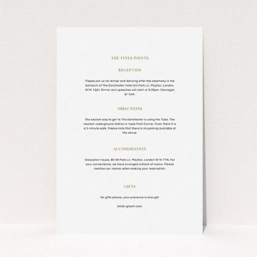 """A wedding insert card named """"Golden black stage"""". It is an A5 card in a portrait orientation. """"Golden black stage"""" is available as a flat card, with mainly white colouring."""