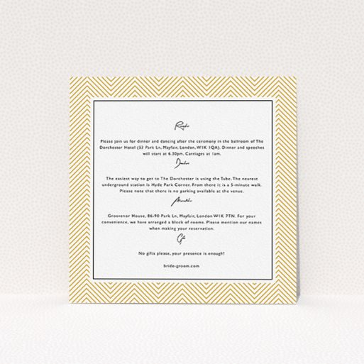 """A wedding insert card design named """"Golden Lines"""". It is a square (148mm x 148mm) card in a square orientation. """"Golden Lines"""" is available as a flat card, with tones of gold and white."""