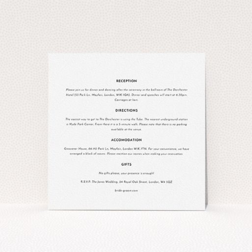 """A wedding insert card design titled """"Magic number"""". It is a square (148mm x 148mm) card in a square orientation. """"Magic number"""" is available as a flat card, with mainly white colouring."""