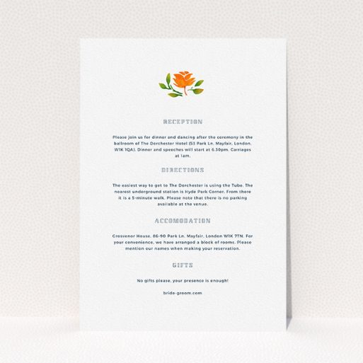 """A wedding insert card named """"Midsummer Wreath"""". It is an A5 card in a portrait orientation. """"Midsummer Wreath"""" is available as a flat card, with tones of white and green."""