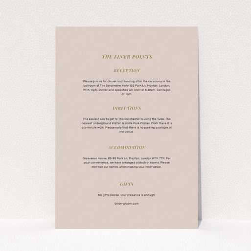"""A wedding insert card design named """"Royal oak"""". It is an A5 card in a portrait orientation. """"Royal oak"""" is available as a flat card, with mainly dark cream colouring."""