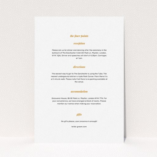 """A wedding insert card named """"Script switch"""". It is an A5 card in a portrait orientation. """"Script switch"""" is available as a flat card, with mainly white colouring."""