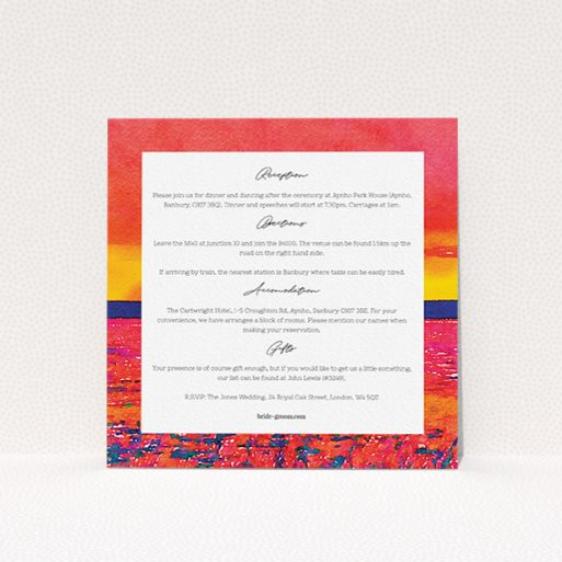 """A wedding insert card called """"Setting Sun"""". It is a square (148mm x 148mm) card in a square orientation. """"Setting Sun"""" is available as a flat card, with tones of red and yellow."""