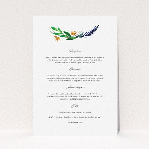 """A wedding insert card design called """"Summer Whirl Wreath"""". It is an A5 card in a portrait orientation. """"Summer Whirl Wreath"""" is available as a flat card, with tones of white and green."""