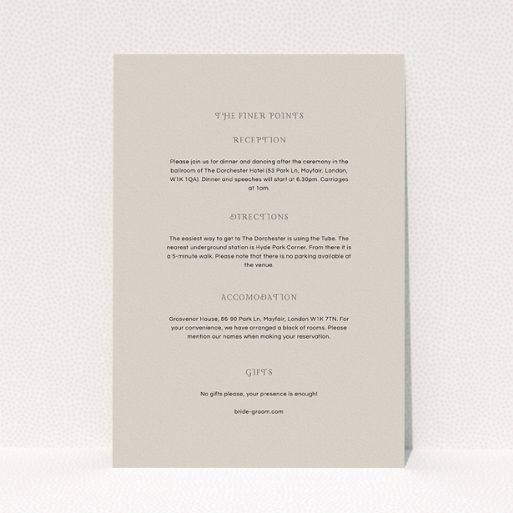"""A wedding insert card template titled """"Woodland dusk"""". It is an A5 card in a portrait orientation. """"Woodland dusk"""" is available as a flat card, with mainly faded cream colouring."""