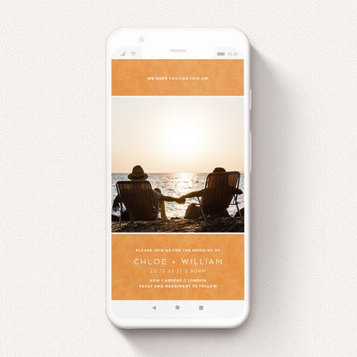 """A wedding invitation for whatsapp called """"Beach Towel Orange"""". It is a smartphone screen sized invite in a portrait orientation. It is a photographic wedding invitation for whatsapp with room for 1 photo. """"Beach Towel Orange"""" is available as a flat invite, with tones of orange and white."""