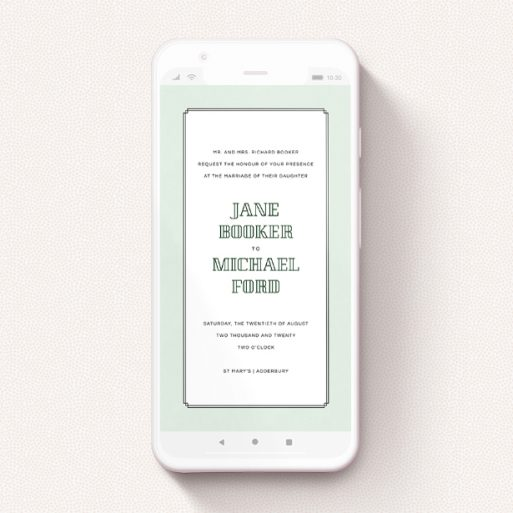"""A wedding invitation for whatsapp design titled """"Deco mint """". It is a smartphone screen sized invite in a portrait orientation. """"Deco mint """" is available as a flat invite, with tones of green and white."""