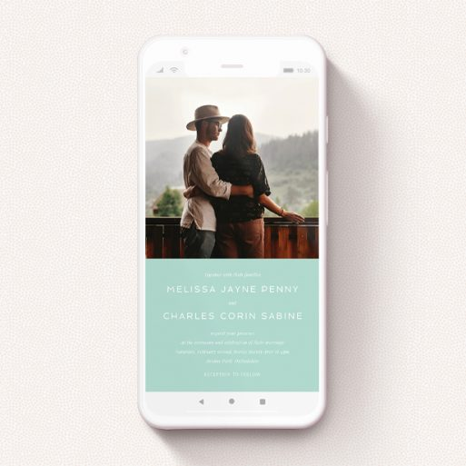 """A wedding invitation for whatsapp named """"Mint Bottom Simple"""". It is a smartphone screen sized invite in a portrait orientation. It is a photographic wedding invitation for whatsapp with room for 1 photo. """"Mint Bottom Simple"""" is available as a flat invite, with tones of green and white."""