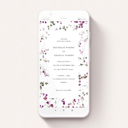 """A wedding invitation for whatsapp design called """"Purple Lupine"""". It is a smartphone screen sized invite in a portrait orientation. """"Purple Lupine"""" is available as a flat invite, with tones of purple, pink and dark green."""