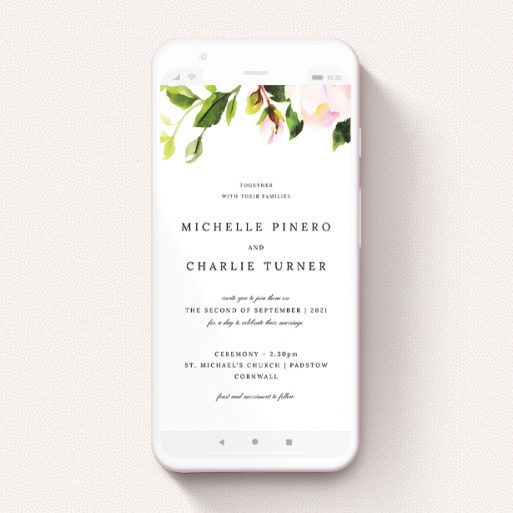 """A wedding invitation for whatsapp design named """"Rose Roof"""". It is a smartphone screen sized invite in a portrait orientation. """"Rose Roof"""" is available as a flat invite, with tones of pink and green."""