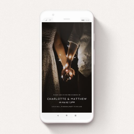 """A wedding invitation for whatsapp design called """"Shepherds Market"""". It is a smartphone screen sized invite in a portrait orientation. It is a photographic wedding invitation for whatsapp with room for 1 photo. """"Shepherds Market"""" is available as a flat invite, with mainly white colouring."""