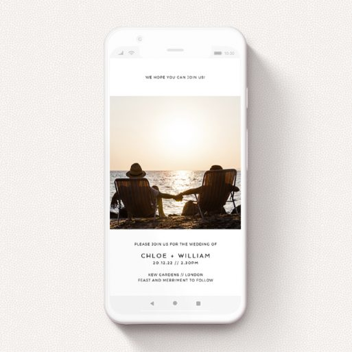 """A wedding invitation for whatsapp named """"Simple Setting"""". It is a smartphone screen sized invite in a portrait orientation. It is a photographic wedding invitation for whatsapp with room for 1 photo. """"Simple Setting"""" is available as a flat invite, with mainly white colouring."""