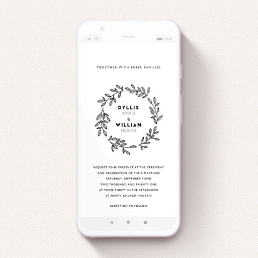 """A wedding invitation for whatsapp design titled """"Simple Wreath"""". It is a smartphone screen sized invite in a portrait orientation. """"Simple Wreath"""" is available as a flat invite, with tones of black and white."""
