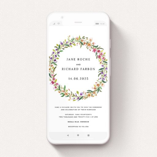 """A wedding invitation for whatsapp design called """"Spring Florist"""". It is a smartphone screen sized invite in a portrait orientation. """"Spring Florist"""" is available as a flat invite, with tones of light green and orange."""