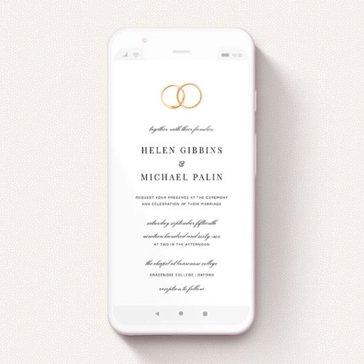 """A wedding invitation for whatsapp named """"The newlyweds """". It is a smartphone screen sized invite in a portrait orientation. """"The newlyweds """" is available as a flat invite, with tones of white and gold."""