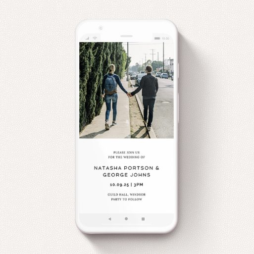 """A wedding invitation for whatsapp design titled """"Upstairs-Downstairs"""". It is a smartphone screen sized invite in a portrait orientation. It is a photographic wedding invitation for whatsapp with room for 1 photo. """"Upstairs-Downstairs"""" is available as a flat invite, with mainly white colouring."""