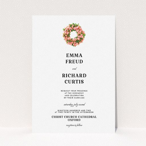 """A wedding invite card called """"Acrylic Wreath"""". It is an A5 invite in a portrait orientation. """"Acrylic Wreath"""" is available as a flat invite, with tones of white and green."""