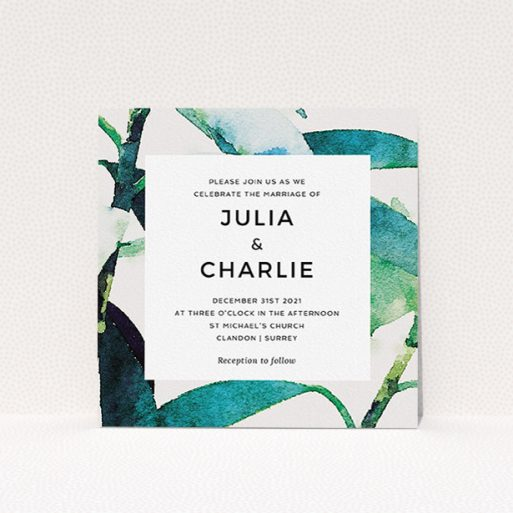 """A wedding invite card template titled """"Bamboo"""". It is a square (148mm x 148mm) invite in a square orientation. """"Bamboo"""" is available as a flat invite, with tones of green, blue and light grey."""
