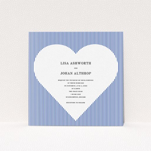 """A wedding invite card design titled """"Between the Lines"""". It is a square (148mm x 148mm) invite in a square orientation. """"Between the Lines"""" is available as a flat invite, with tones of blue and white."""