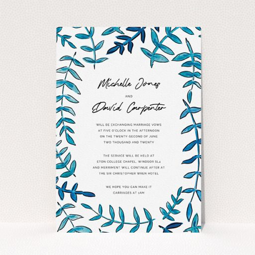 """A wedding invite card design titled """"Blue Branch Swirl"""". It is an A5 invite in a portrait orientation. """"Blue Branch Swirl"""" is available as a flat invite, with tones of blue and white."""