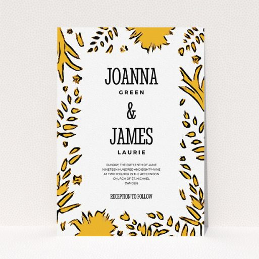 """A wedding invite card design named """"Botanical tiger"""". It is an A5 invite in a portrait orientation. """"Botanical tiger"""" is available as a flat invite, with tones of white and yellow."""