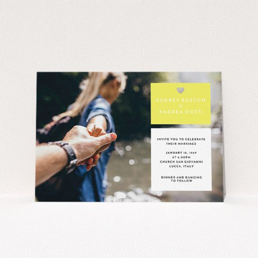 """A wedding invite card named """"Boxed In"""". It is an A5 invite in a landscape orientation. It is a photographic wedding invite card with room for 1 photo. """"Boxed In"""" is available as a flat invite, with mainly yellow colouring."""