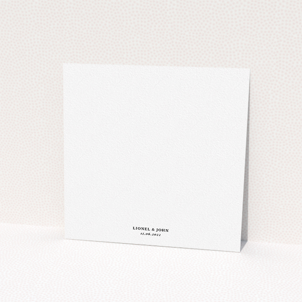 """A wedding invite card design called """"Centrepiece"""". It is a square (148mm x 148mm) invite in a square orientation. """"Centrepiece"""" is available as a flat invite, with tones of green, cream and dark green."""